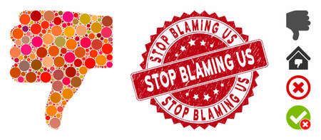 Mosaic thumb down icon and rubber stamp seal with Stop Blaming Us caption. Mosaic vector is created with thumb down icon and with randomized circle elements. Stop Blaming Us stamp uses red color,