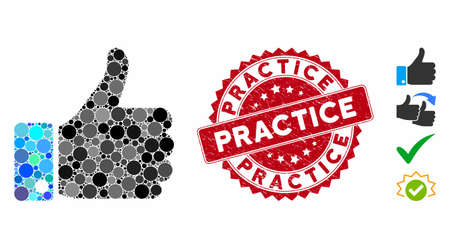 Mosaic thumb up icon and rubber stamp seal with Practice caption. Mosaic vector is composed with thumb up icon and with random spheric elements. Practice stamp seal uses red color,