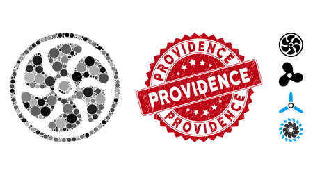 Mosaic turbine icon and distressed stamp seal with Providence caption. Mosaic vector is created from turbine icon and with randomized spheric elements. Providence stamp seal uses red color, 向量圖像
