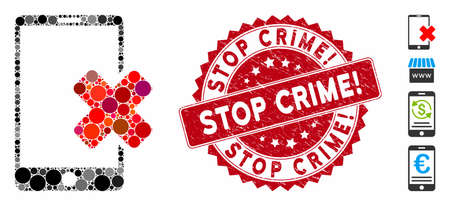 Mosaic wrong smartphone icon and rubber stamp seal with Stop Crime! caption. Mosaic vector is designed with wrong smartphone icon and with randomized round items.