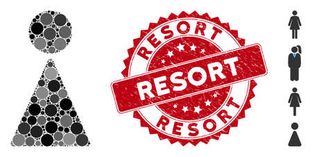 Mosaic woman icon and grunge stamp seal with Resort phrase. Mosaic vector is designed with woman pictogram and with random round items. Resort seal uses red color, and grunge surface.