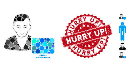 Mosaic computer user icon and rubber stamp seal with Hurry Up! caption. Mosaic vector is composed from computer user icon and with random spheric elements. Hurry Up! stamp seal uses red color,