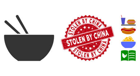 Vector asian food icon and rubber round stamp seal with Stolen by China phrase. Flat asian food icon is isolated on a white background. Stolen by China stamp seal uses red color and grunged design.