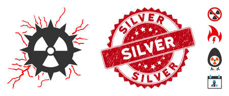 Vector atomic power sparks icon and grunge round stamp seal with Silver caption. Flat atomic power sparks icon is isolated on a white background. Silver stamp seal uses red color and distress design. 向量圖像
