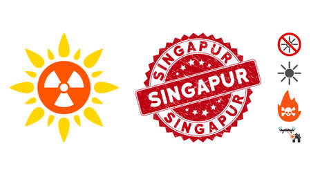Vector atomic radiation icon and corroded round stamp seal with Singapur text. Flat atomic radiation icon is isolated on a white background. Singapur stamp seal uses red color and scratched texture.