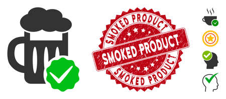 Vector best beer icon and rubber round stamp watermark with Smoked Product text. Flat best beer icon is isolated on a white background. Smoked Product stamp seal uses red color and rubber texture. Illustration