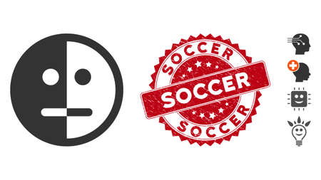 Vector bipolarity face icon and corroded round stamp seal with Soccer text. Flat bipolarity face icon is isolated on a white background. Soccer stamp seal uses red color and dirty surface. Ilustracja