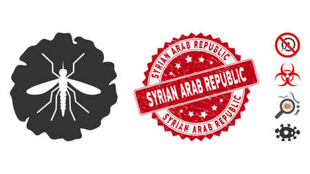Vector dengue fever virus icon and distressed round stamp seal with Syrian Arab Republic phrase. Flat dengue fever virus icon is isolated on a white background.