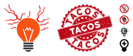 Vector electric sparks bulb icon and grunge round stamp seal with Tacos phrase. Flat electric sparks bulb icon is isolated on a white background. Tacos stamp seal uses red color and distress design. Иллюстрация