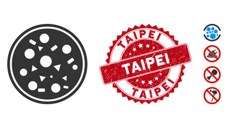 Vector entire pizza icon and rubber round stamp seal with Taipei text. Flat entire pizza icon is isolated on a white background. Taipei stamp seal uses red color and rubber design. Foto de archivo - 135007638