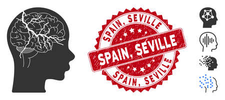 Vector brain carcinoma icon and rubber round stamp seal with Spain, Seville caption. Flat brain carcinoma icon is isolated on a white background. Spain,