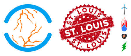 Vector clean energy icon and grunge round stamp seal with St. Louis text. Flat clean energy icon is isolated on a white background. St. Louis seal uses red color and grunge surface.