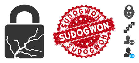 Vector corrupted lock icon and distressed round stamp seal with Sudogwon text. Flat corrupted lock icon is isolated on a white background. Sudogwon stamp seal uses red color and grunge design. Illustration