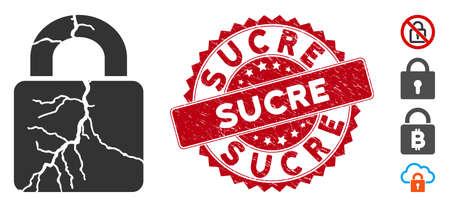 Vector corrupted lock icon and grunge round stamp seal with Sucre phrase. Flat corrupted lock icon is isolated on a white background. Sucre stamp seal uses red color and rubber design.
