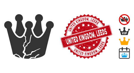 Vector corrupted monarchy icon and corroded round stamp seal with United Kingdom, Leeds phrase. Flat corrupted monarchy icon is isolated on a white background. United Kingdom,