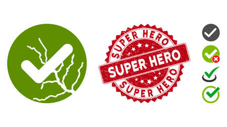 Vector corrupted trust icon and rubber round stamp seal with Super Hero caption. Flat corrupted trust icon is isolated on a white background. Super Hero stamp seal uses red color and distress design.
