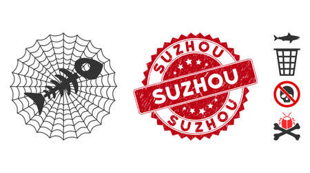 Vector dead fish net icon and rubber round stamp seal with Suzhou phrase. Flat dead fish net icon is isolated on a white background. Suzhou stamp seal uses red color and grunge texture.