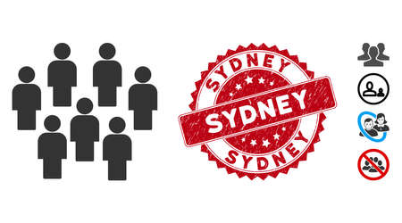 Vector demography icon and rubber round stamp seal with Sydney caption. Flat demography icon is isolated on a white background. Sydney stamp seal uses red color and grunged surface. 向量圖像