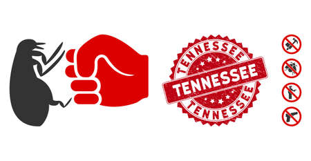 Vector flea fist strike icon and rubber round stamp seal with Tennessee phrase. Flat flea fist strike icon is isolated on a white background. Tennessee stamp seal uses red color and scratched design.