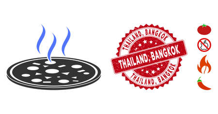 Vector fresh pizza icon and rubber round stamp seal with Thailand, Bangkok caption. Flat fresh pizza icon is isolated on a white background. Thailand, Foto de archivo - 135007279