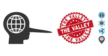 Vector global liar icon and grunge round stamp seal with The Valley caption. Flat global liar icon is isolated on a white background. The Valley stamp seal uses red color and rubber texture.
