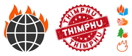 Vector global warming fire icon and distressed round stamp seal with Thimphu phrase. Flat global warming fire icon is isolated on a white background.