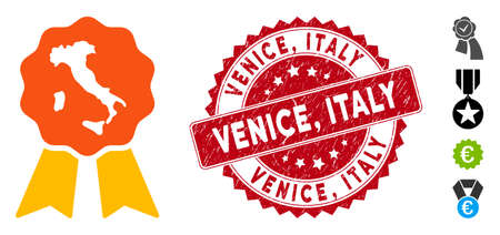 Vector italian quality icon and distressed round stamp seal with Venice, Italy caption. Flat italian quality icon is isolated on a white background. Venice,