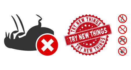 Vector kill flea icon and grunge round stamp seal with Try New Things text. Flat kill flea icon is isolated on a white background. Try New Things stamp seal uses red color and grunged surface.