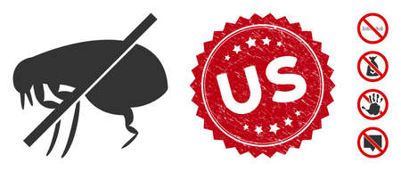 Vector no fleas icon and corroded round stamp seal with Us phrase. Flat no fleas icon is isolated on a white background. Us stamp seal uses red color and distress surface. Bonus icons are added.