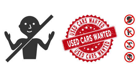 Vector no guru icon and distressed round stamp seal with Used Cars Wanted phrase. Flat no guru icon is isolated on a white background. Used Cars Wanted stamp seal uses red color and grunged surface. 矢量图片
