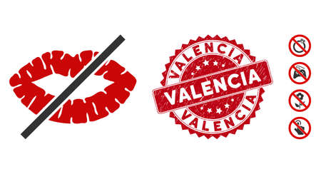 Vector no kiss icon and rubber round stamp seal with Valencia phrase. Flat no kiss icon is isolated on a white background. Valencia stamp seal uses red color and scratched surface.
