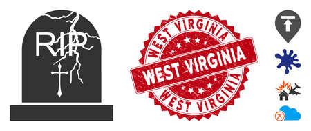 Vector old grave icon and grunge round stamp seal with West Virginia caption. Flat old grave icon is isolated on a white background. West Virginia stamp seal uses red color and rubber design.