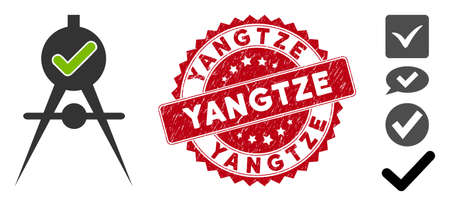 Vector quality confirmation icon and rubber round stamp seal with Yangtze phrase. Flat quality confirmation icon is isolated on a white background. Yangtze stamp uses red color and rubber surface.
