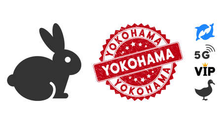 Vector rabbit icon and grunge round stamp watermark with Yokohama caption. Flat rabbit icon is isolated on a white background. Yokohama stamp seal uses red color and grunged design.