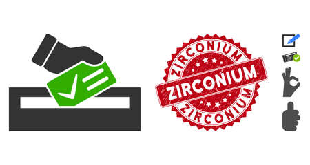 Vector your vote icon and rubber round stamp watermark with Zirconium caption. Flat your vote icon is isolated on a white background. Zirconium stamp seal uses red color and rubber texture.