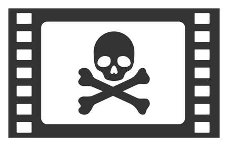 Stolen movie raster icon. Flat Stolen movie pictogram is isolated on a white background.