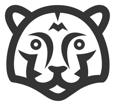 Tiger head raster icon. Flat Tiger head pictogram is isolated on a white background. 版權商用圖片
