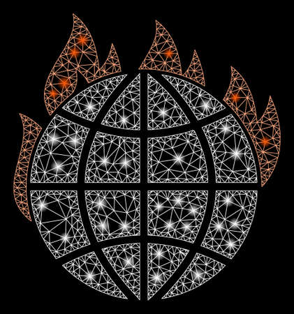Glowing mesh global warming fire with sparkle effect. Abstract illuminated model of global warming fire icon. Shiny wire frame triangular mesh global warming fire. Ilustrace