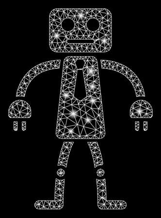 Bright mesh official robot with glare effect. Abstract illuminated model of official robot icon. Shiny wire frame triangular mesh official robot. Vector abstraction on a black background. Çizim