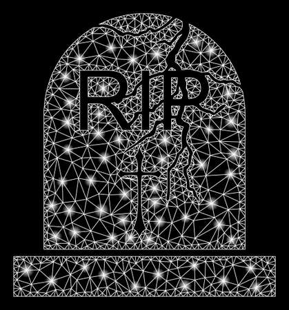 Glowing mesh old grave with glare effect. Abstract illuminated model of old grave icon. Shiny wire frame polygonal mesh old grave. Vector abstraction on a black background.