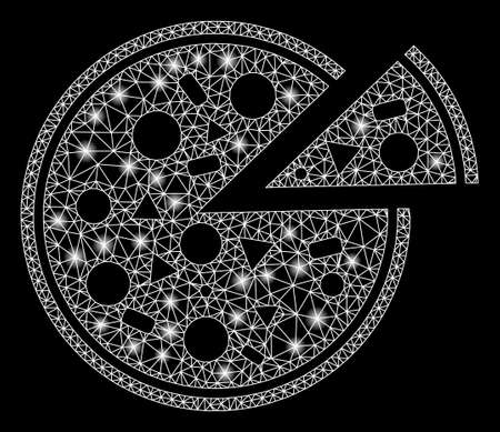Glowing mesh pizza with sparkle effect. Abstract illuminated model of pizza icon. Shiny wire carcass triangular mesh pizza. Vector abstraction on a black background. Foto de archivo - 135011520