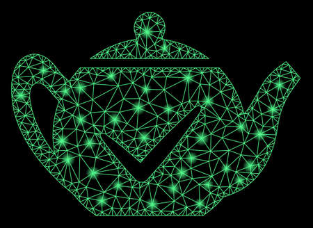 Glowing mesh real teapot with sparkle effect. Abstract illuminated model of real teapot icon. Shiny wire carcass polygonal mesh real teapot. Vector abstraction on a black background.