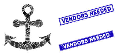 Mosaic anchor pictogram and rectangle Vendors Needed seal stamps. Flat vector anchor mosaic pictogram of random rotated rectangle items. Blue Vendors Needed rubber stamps with scratched textures.