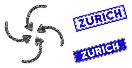 Mosaic vortex collide arrows pictogram and rectangular Zurich rubber prints. Flat vector vortex collide arrows mosaic pictogram of scattered rotated rectangle items. Иллюстрация