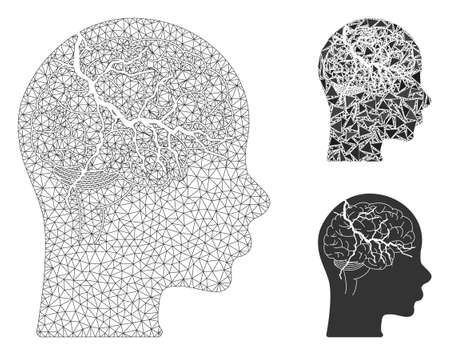 Mesh brain carcinoma model with triangle mosaic icon. Wire carcass polygonal mesh of brain carcinoma. Vector mosaic of triangle parts in different sizes, and color tones. Illustration