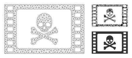 Mesh stolen movie model with triangle mosaic icon. Wire frame triangular mesh of stolen movie. Vector mosaic of triangles in various sizes, and color tones. Abstract 2d mesh stolen movie,