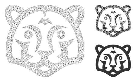 Mesh tiger head model with triangle mosaic icon. Wire frame polygonal mesh of tiger head. Vector mosaic of triangle parts in variable sizes, and color tinges. Abstract 2d mesh tiger head, 向量圖像
