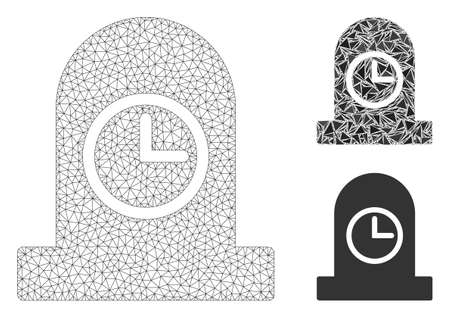 Mesh expired grave model with triangle mosaic icon. Wire frame polygonal mesh of expired grave. Vector mosaic of triangle elements in various sizes, and color tints. Abstract flat mesh expired grave, Иллюстрация