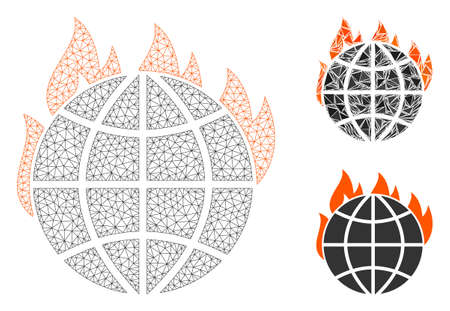 Mesh global warming fire model with triangle mosaic icon. Wire carcass triangular mesh of global warming fire. Vector composition of triangle parts in variable sizes, and color tinges.