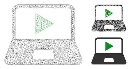 Mesh webcast laptop model with triangle mosaic icon. Wire frame triangular network of webcast laptop. Vector mosaic of triangle elements in variable sizes, and color tones. Illustration